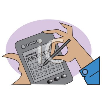 Cartoon of a Woman Using a Palm Pilot PDA