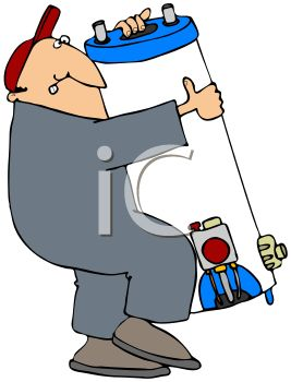 Cartoon of a Plumber Carrying a Water Heater