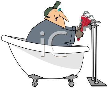 Plumber Cartoon of a Handyman Repairing a Bathtub Faucet