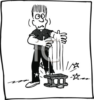 Black and White Cartoon of a Man with a Brick on His Foot