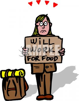 Homeless Man Holding a Will Work for Food Sign