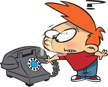 Cartoon of a Boy Wondering What a Rotary Phone Is