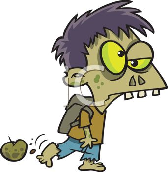 Cartoon of a Zombie Boy Wearing a Backpack Going Off to School