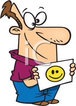 Cartoon of a Dad Holding a Flash Card of a Smiley Face