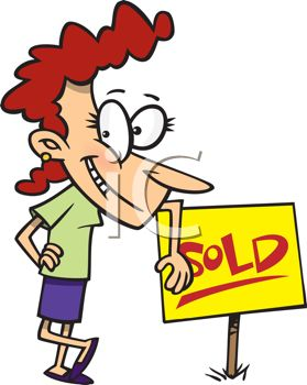 Cartoon of a Real Estate Agent Standing Next to a Sold Sign