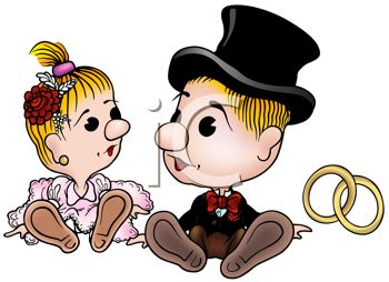 Cartoon of a Cute Bride and Groom with Gold Rings