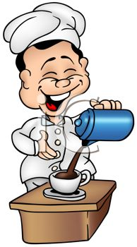 Cartoon of a Laughing Chef Pouring Coffee