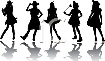 Silhouettes of Cowgirls