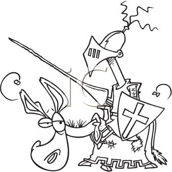 Black and White Cartoon of a Knight on a Sad Looking Horse