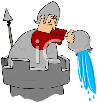 Knight Throwing Water Off a Castle Turret