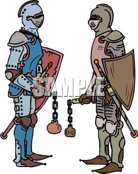 knights facing off with weapons royalty free clipart picture rh clipartguide com knight clipart vector knight clipart free