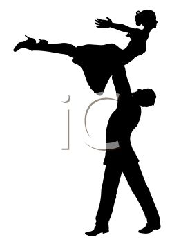 Silhouette of a Male Dancer Holding a Female Dancer Above His Head