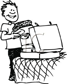 Royalty Free Clip Art Image Black And White Cartoon Of A Kid Going Off To College