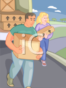 Man and Woman Unloading a Moving Truck