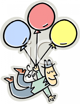 Cartoon Guy Floating Away on a Bouquet of Balloons