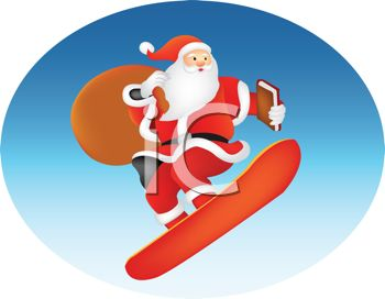 Santa Claus Riding a Snowboard with His Toy Sack