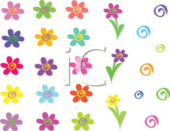 Collection of Whimsical Flowers and Swirls