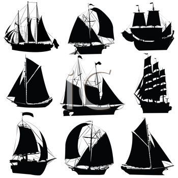 Silhouettes of Different Clipper Ships