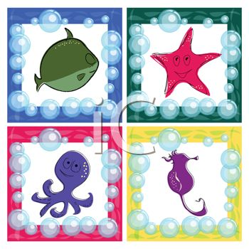 Collection of Marine Animals on Tiles with Bubbles