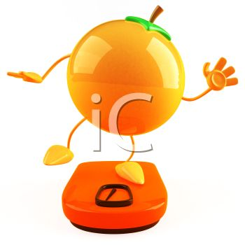 Happy 3D Orange Weighing Herself on a Scale