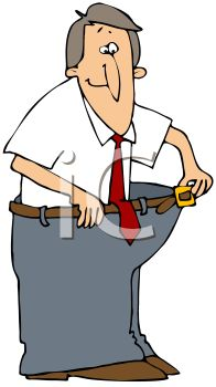 Cartoon of a Man Who Lost Weight Wearing His Fat Pants