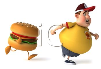 3D Fat Kid Running from a Cheeseburger Temptation
