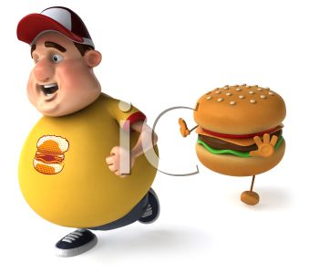 3D Fat Boy Resisting the Temptation to Eat a Cheeseburger