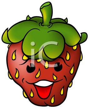 Happy Cartoon Strawberry with a Face