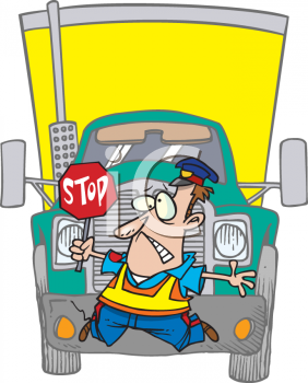 Cartoon of a Truck Hitting a Crossing Guard