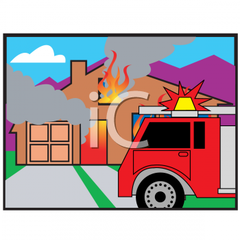 Cartoon Showing a Fire Engine at a House on Fire