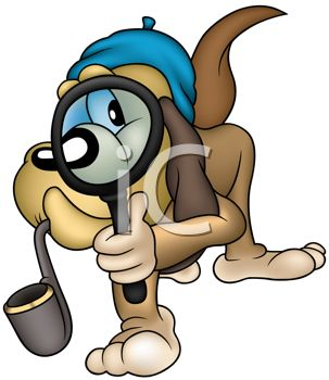 Cartoon Hound Dog Private Detective Searching for Clues