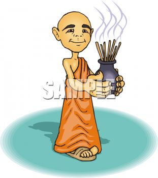 Buddhist Monk Holding Incense