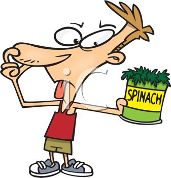 Cartoon of a Boy Plugging His Nose Holding a Can of Spinich