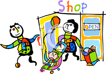 Stick Figure Store Clerk Holding the Door Open for a Woman with a Stroller