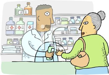 Pharmacist Talking to an Old Woman About Her Prescription