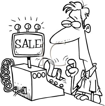 Black and White Cartoon of a Man Using a Cash Register