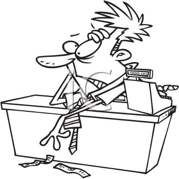 Royalty Free Clipart Image Black And White Cartoon Of A Frazzled