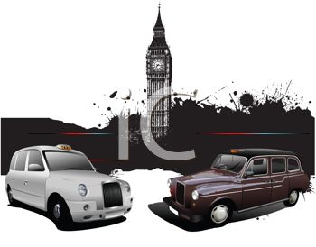 British Taxi Cabs Parked with Big Ben in the Background