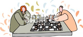Two people playing a game of chess