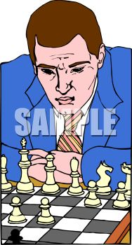 Professional chess player concentrating