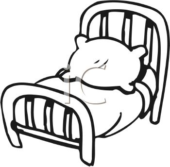 Black and White Cartoon Bed
