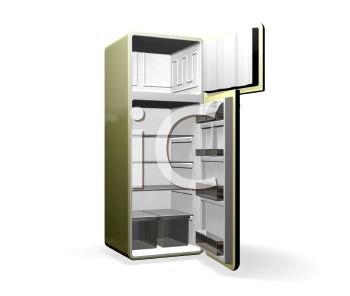 3D Refrigerator with the Doors Open