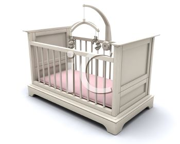 3D White Baby's Crib with a Mobile and Pink Sheet