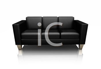 3D Black Leather Sofa in a Contemporary Design