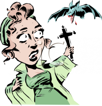 Woman Fending Off a Vampire Bat with a Cross