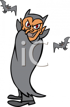 Cartoonish Vampire Wrapped Up in His Cape with Bats