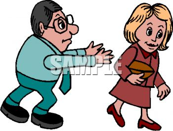 Cartoon of a Guy Stalking a Woman Who is Ignoring Him