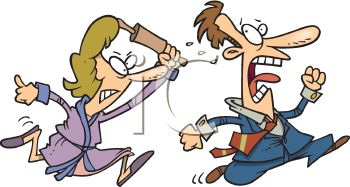 Cartoon of an Angry Wife Trying to Murder Her Cheating Husband with a Rolling Pin