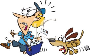 Mail Lady Being Chased by a Barking Dog