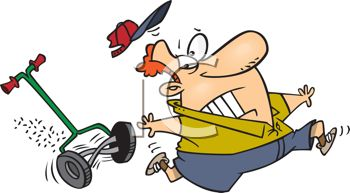 Cartoon of a Guy Being Attacked by His Lawnmower